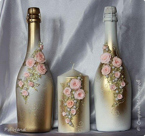 Украшение бутылок на свадьбу Авторская работа на заказ фото 1