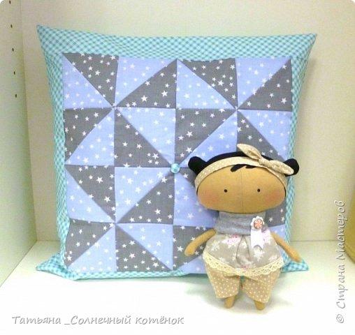 Лоскутная подушка и куколка Тильда-Милашка Мила фото 1