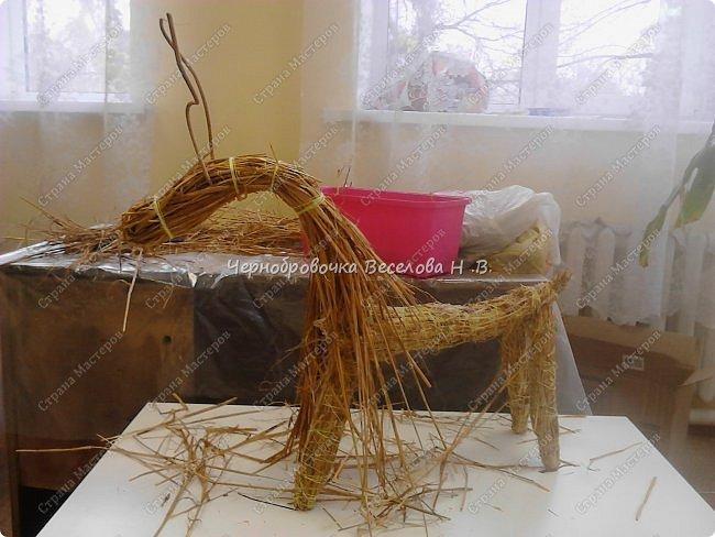 Соломенный олень был сделан, как экспонат , для участия в  межрегиональной выставке Рождественские узоры Поволжья фото 8