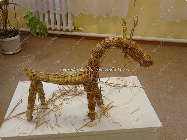Соломенный олень был сделан, как экспонат , для участия в  межрегиональной выставке Рождественские узоры Поволжья фото 9