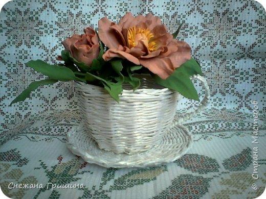 Мастер-класс Поделка изделие Плетение Пион древовидный из фоамирана Пионы в чашке Бумага газетная Фоамиран фом фото 1