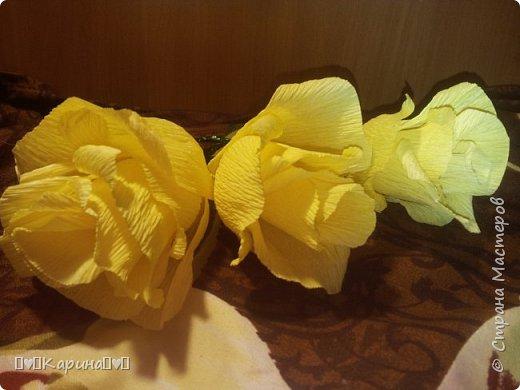 """Здравствуй СМ! Наконец-то я нашла время для тебя! Сделала я для конкурса """"Мои любимые цветы"""" желтые розы. (Для конкурса) Мое имя Карина, мне 14 лет (Скоро день рождения(для меня)). У Мамы довно лежала эта бумага, хотела давно зделать, но получилось только сейчас.  фото 1"""