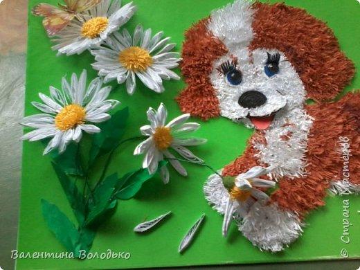 Здравствуйте дорогие жители Страны Мастеров.Сегодня у меня панно с озорным щенком.Делала по просьбе дочки,подарок подруге,родившейся в год собаки.Разошелся ,разыгрался щенок на прогулке,цветок ромашки растрепал.Разлетелись лепестки. фото 5