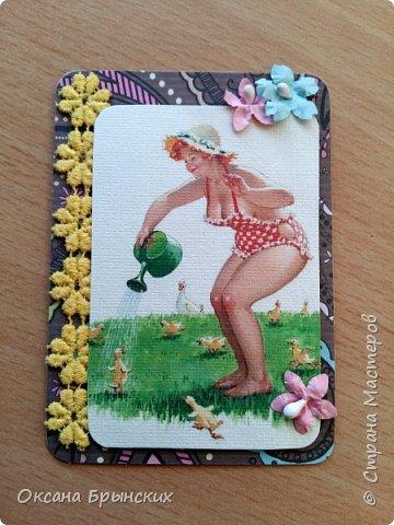 """Еще одна серия АТС-карточек по мотивам рисунков Дуэйна Брайерса, которые носят общее название """"Неунывающая Хильда"""". Это же название я оставила и для самой серии.  В серии 8 карточек. Приглашаю к обмену! фото 2"""