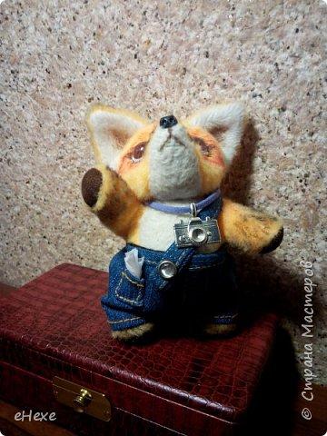 Интересно, о чём мечтает этот маленький лисёнок, глядя в небо? Быть может, ищет созвездие лис? Или о том, как вырастет межгалактическим репортёром? Выполнен ребёнок из плюша для игрушек. высота стоя от стола до затылка (без ушек) - 10,5 см фото 4
