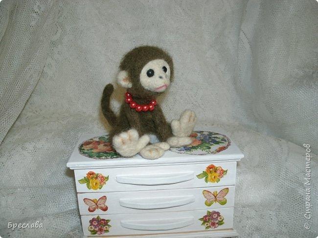 Вот такую обезьянку муж свалял по моему заказу в подарок для одной чудесной женщины и её доченьки. фото 4