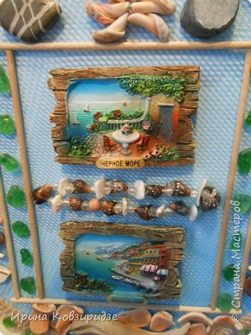 С моря я привезла много раковин. Прикупила к ним магнитов на морскую тему, собрала пластиковых крышек от ведёрок  и начала фантазировать... фото 17