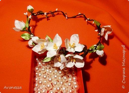 Цветы из ткани: жасминовый веночек
