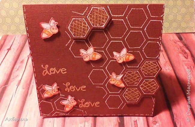 Увидела в интернете способ сложения такой открыточки, мне понравилось, что просто и быстро. Оформление придумала сама про пчелок, мне сейчас они очень нравятся. Как поздравление на какое либо торжество, праздник наверное  не пойдет, а вот как небольшой и приятный сентимент близкому человечку, самое то. фото 2