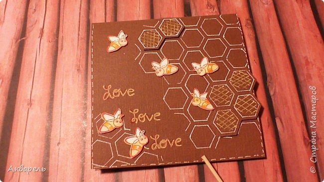 Увидела в интернете способ сложения такой открыточки, мне понравилось, что просто и быстро. Оформление придумала сама про пчелок, мне сейчас они очень нравятся. Как поздравление на какое либо торжество, праздник наверное  не пойдет, а вот как небольшой и приятный сентимент близкому человечку, самое то. фото 3