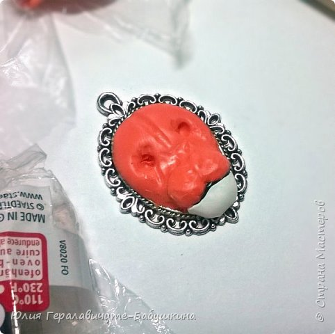 Кулон из полимерной глины, слеплен по мастер классу Ксении Емельяновой  фото 3
