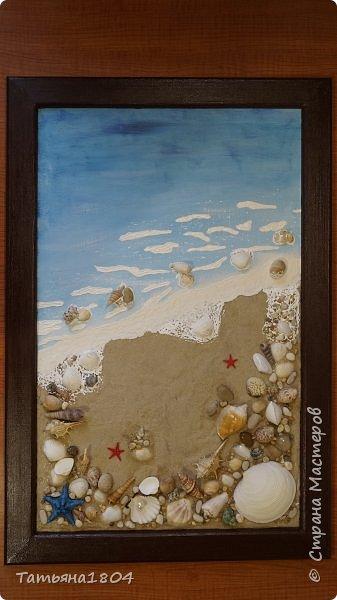 """Зима еще не закончилась, а уже хочется помечтать о летнем отдыхе, когда можно будет наконец понежиться в лучах яркого теплого солнца, позагорать на мягком белом песочке, искупаться в кристально чистой воде. Эти ощущения навеяли мысль о создании панно """"Ракушечный берег"""" с набегающей волной.  фото 8"""