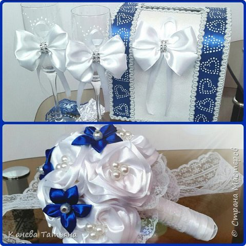 Мой первый опыт, первый букетик из атласных лент, подойдёт как для невесты, так и для свидетельницы  фото 2