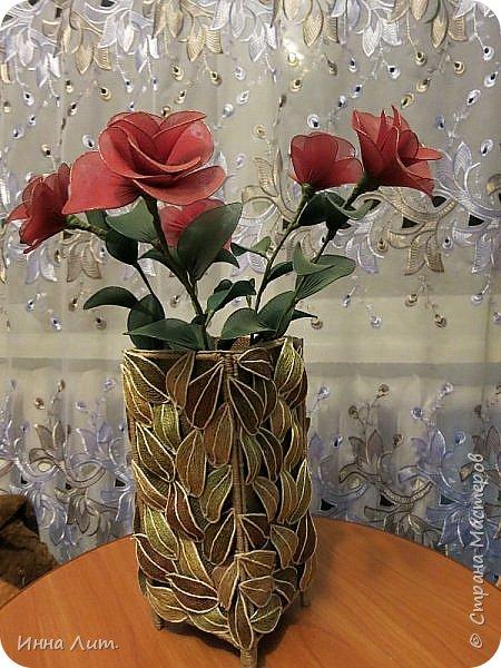 Приветствую Вас,жители!Я со своей вазой из шпагата.Шпагат красила морилкой и пищевыми красителями.(не отбеливала нить) фото 1