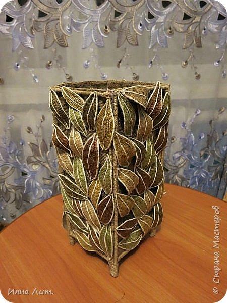 Приветствую Вас,жители!Я со своей вазой из шпагата.Шпагат красила морилкой и пищевыми красителями.(не отбеливала нить) фото 3