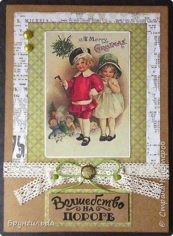 Вот такие новогодние открыточки получились, сделаны для коллег фото 2