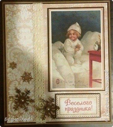 Вот такие новогодние открыточки получились, сделаны для коллег фото 3