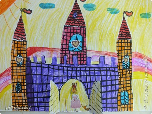 Здравствуйте! Нашим девочкам, и мальчикам очень понравилось рисовать замки. Вот что у нас получилось... фото 3