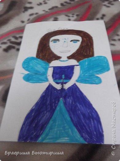 """Всем привет!Сегодня я сдаю работу на конкурс """"моя фея"""". Я первый раз участвую в конкурсе так что не судите строго. Это фея воды,поэтому у нее наряд и крылья выполнены синим и голубым цветом. фото 2"""