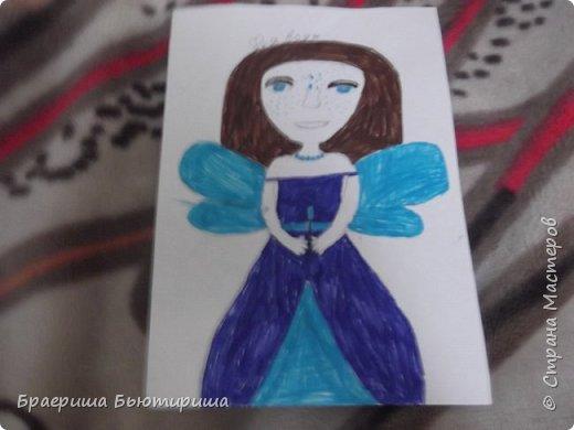 """Всем привет!Сегодня я сдаю работу на конкурс """"моя фея"""". Я первый раз участвую в конкурсе так что не судите строго. Это фея воды,поэтому у нее наряд и крылья выполнены синим и голубым цветом. фото 1"""