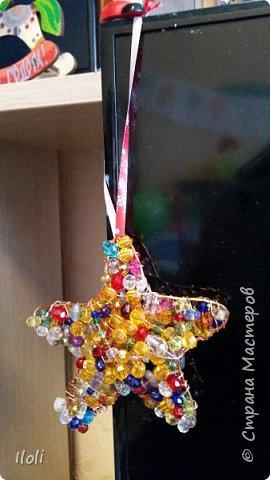 Всем привет! Выкладываю несколько поделок, которые делала еще к Новому году :)  Вот такая звездочка из проволки и бусин. фото 1