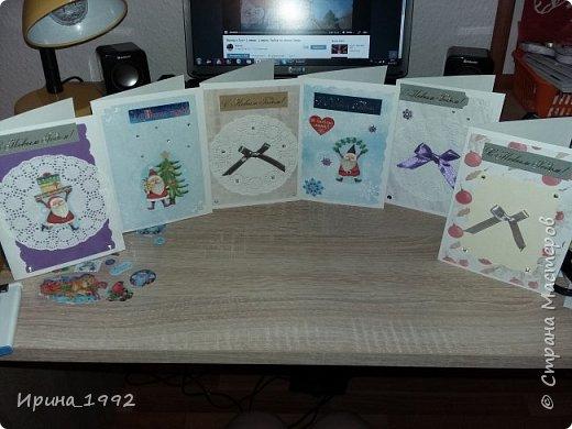 вот такие открытки быстро-быстро наделала коллегам по работе, купила бумагу с дедушкой морозом-второй год активно использую на открытки фото 1
