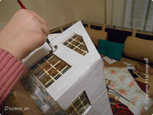 Здравствуйте Мастера и Мастерицы! Наконец-то мы с ученицей окончили работу над домом. Спешу поделиться результатом. Возможно не всё получилось как бы хотелось, но мы старались. Попробую выложить небольшой мастер-класс, может кому-то пригодится.  фото 9