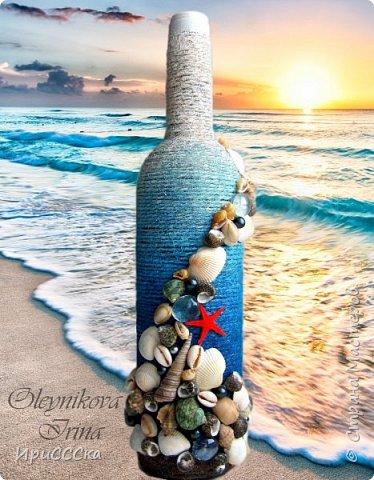 """Давно мечтала сделать что-нибудь в морской тематике. Случайно я наткнулась на морскую бутылку Самуитянки  http://stranamasterov.ru/node/907572 ...и тут меня было не удержать)))  Так """"родился"""" мой набор """"Воспоминание о море..."""" В нём совместились разные техники, которые я давно хотела попробовать: это и топиарий из фатина, и насыпушки из подкрашенной соли, и др.  фото 1"""