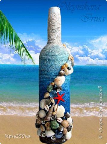 """Давно мечтала сделать что-нибудь в морской тематике. Случайно я наткнулась на морскую бутылку Самуитянки  http://stranamasterov.ru/node/907572 ...и тут меня было не удержать)))  Так """"родился"""" мой набор """"Воспоминание о море..."""" В нём совместились разные техники, которые я давно хотела попробовать: это и топиарий из фатина, и насыпушки из подкрашенной соли, и др.  фото 6"""