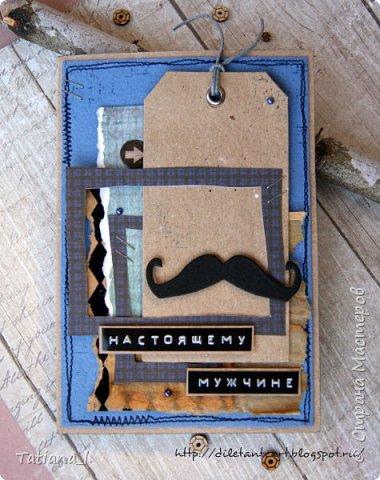 """Привет, СМ! В преддверии мужских праздников, точнее, праздника, покажу вам пару мужских работ: открытку под кодовым названием """"Усы"""" и конвертик для денег. И то, и другое, можно, конечно, и на День Рождения подарить) фото 1"""
