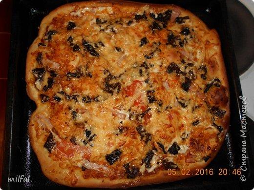 Пицца . Корейка,ветчина,помидоры,сыр,майонез,лук. Тесто сначала обмазываю майонезом,затем выкладываю ингредиенты и сверху опять майонез и в духовку. фото 3