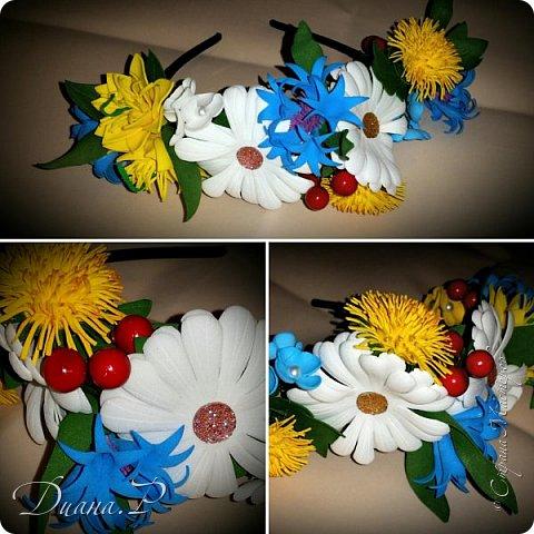 Весенний ободочек из полевых цветов. фоамиран фото 1