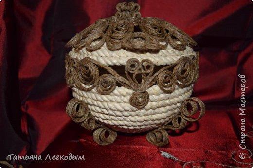 Шкатулка  из  веревки  джута. фото 1