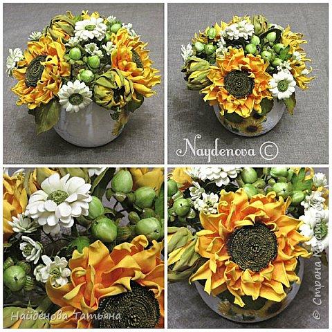 Интерьерный букетик из солнечных цветочков , хризантемок и ягодок гиперикума .................все сделано из фоамира . фото 2