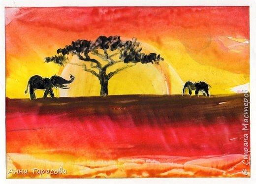 В жаркой-жаркой Африке. Энкаустика. фото 2