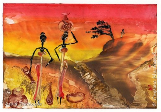 В жаркой-жаркой Африке. Энкаустика. фото 6