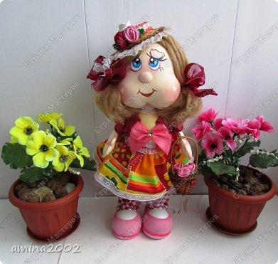Добрый день! Веселая цветочница из фома,платье из ситца. фото 3