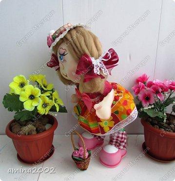 Добрый день! Веселая цветочница из фома,платье из ситца. фото 2