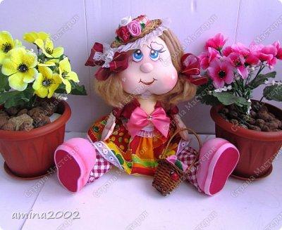 Добрый день! Веселая цветочница из фома,платье из ситца. фото 1