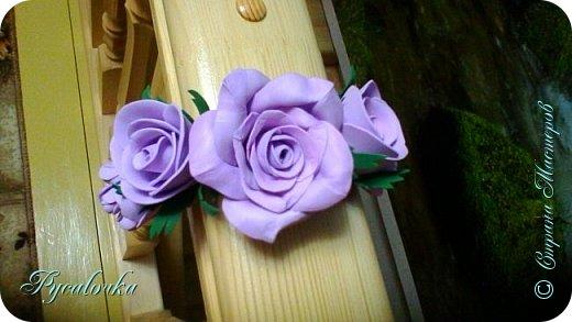 Добрый вечер Страна Мастеров! Сегодня я хочу представить Вашему вниманию свой первый ободочек с цветами из фоамирана. фото 3