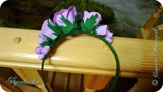 Добрый вечер Страна Мастеров! Сегодня я хочу представить Вашему вниманию свой первый ободочек с цветами из фоамирана. фото 4
