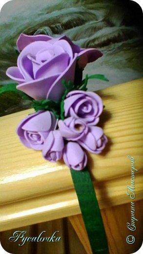 Добрый вечер Страна Мастеров! Сегодня я хочу представить Вашему вниманию свой первый ободочек с цветами из фоамирана. фото 2