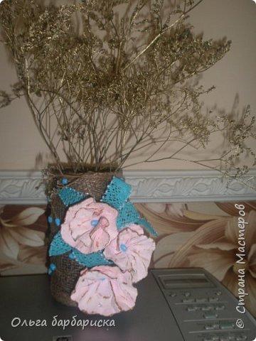 вазочка из мешковины, с вплетенными бусинами фото 1