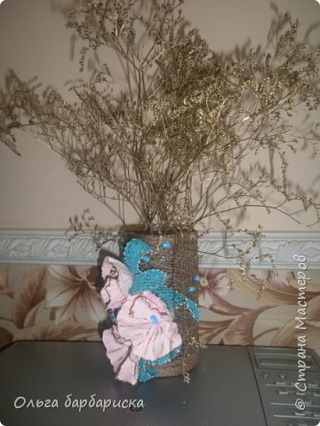 вазочка из мешковины, с вплетенными бусинами фото 2