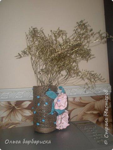 вазочка из мешковины, с вплетенными бусинами фото 4