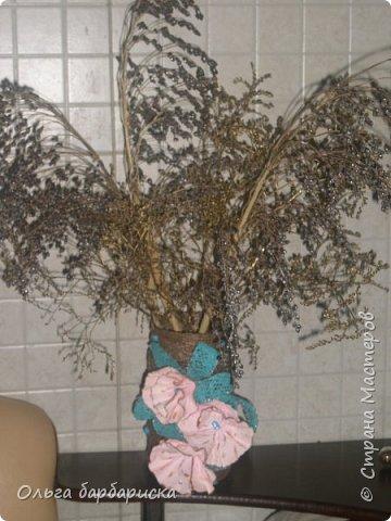 вазочка из мешковины, с вплетенными бусинами фото 3