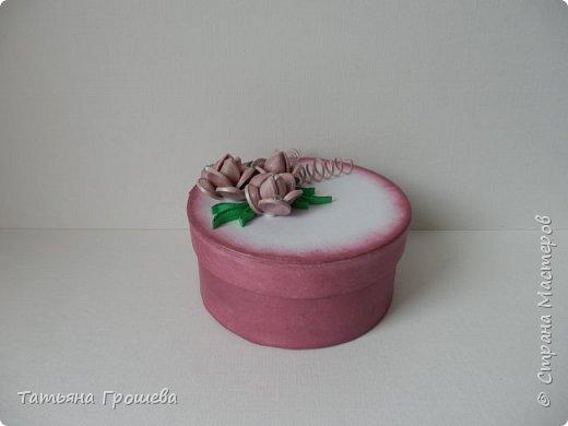 Ко дню рождения одной милой девушки сделала такую шкатулочку с розами. Для основы взяла готовую маленькую белую круглую картонную коробочку. фото 2