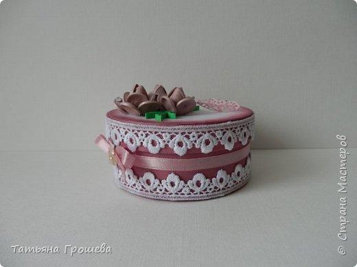 Ко дню рождения одной милой девушки сделала такую шкатулочку с розами. Для основы взяла готовую маленькую белую круглую картонную коробочку. фото 3