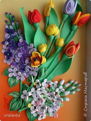 Мои первые тюльпаны. (Училась у Ольги Ольшак)А цветочки сирени изначально делались для гортензии,но что-то панно не сложилось.Все цветочки ушли на другие картины.И вот что получилось фото 1