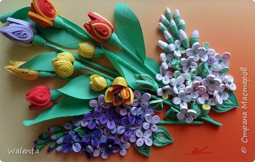 Мои первые тюльпаны. (Училась у Ольги Ольшак)А цветочки сирени изначально делались для гортензии,но что-то панно не сложилось.Все цветочки ушли на другие картины.И вот что получилось фото 2